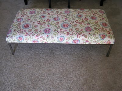 Perfect Ikea hacked coffee table turned upholstered ottoman