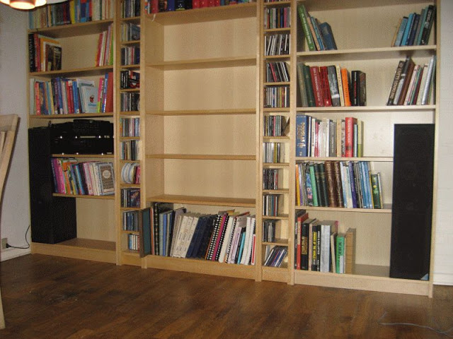 Speakers built into book shelf