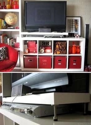 Tv Shelf With Door Stoppers For Legs Ikea Hackers
