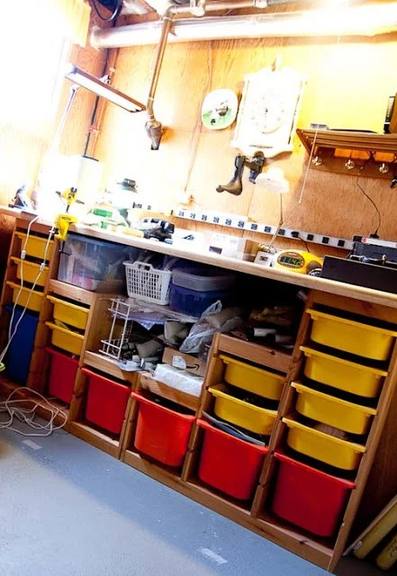 Work Bench Made From Trofast Toy Storage Units Ikea Hackers