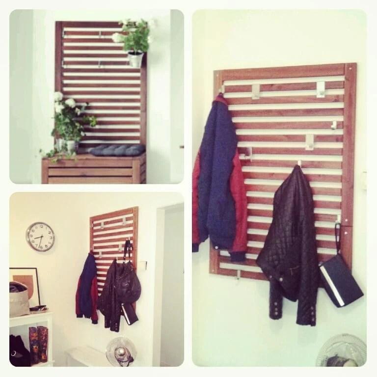 ÄPPLARÖ Wall panel/Coat rack and Backpack rack