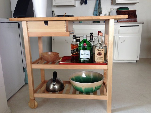 Mini Bar Forhoja Kitchen Cart Modified For Tall Bottles