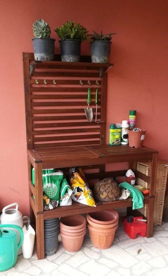 Potting Bench Perfectly Made With 2 PPLAR Benches
