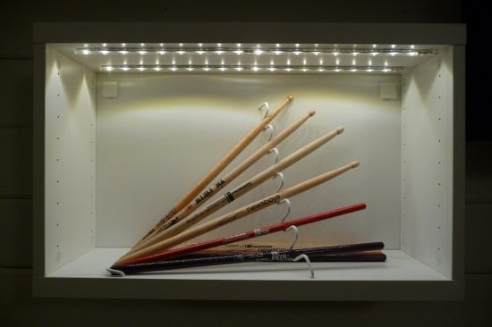 Drum sticks display with STAJLIG, BESTÅ and DIODER