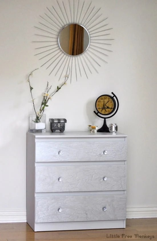 How to do a crackled paint MALM dresser makeover