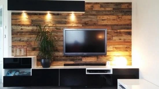 BESTÅ media center with wood panels