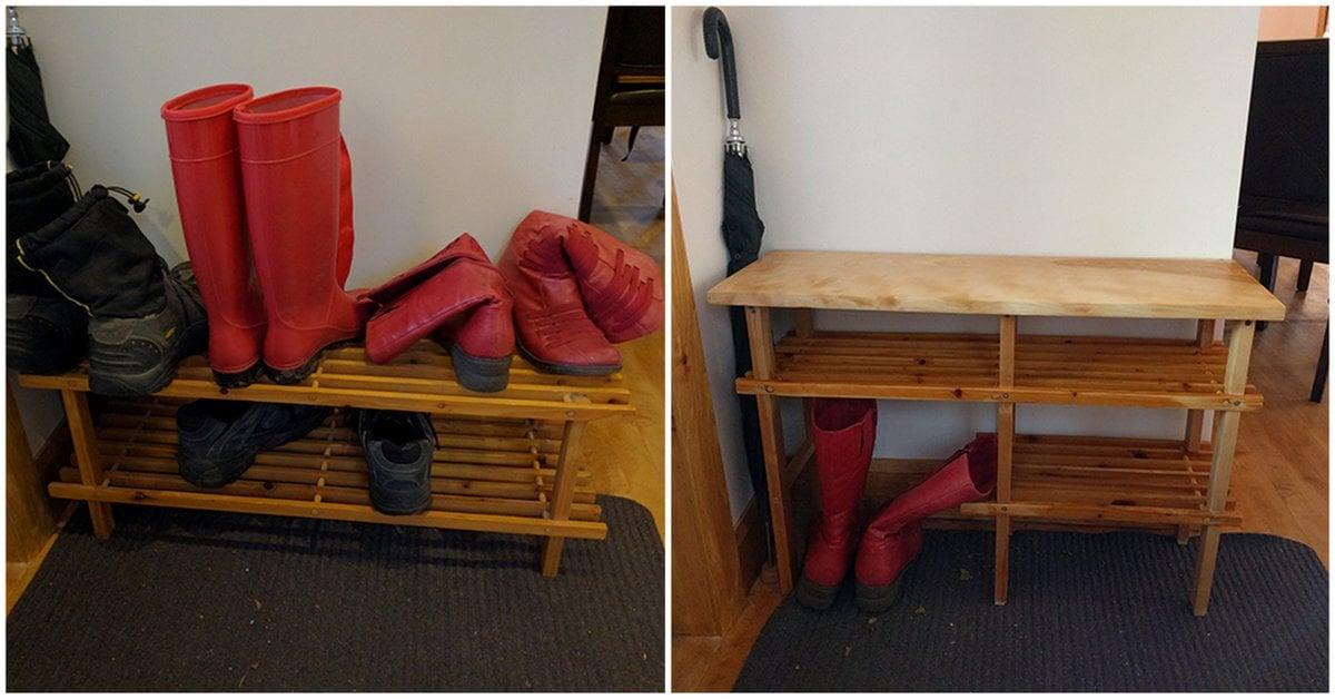 From simple shoe rack to sweet custom bench ikea hackers for Wooden shoe rack ikea