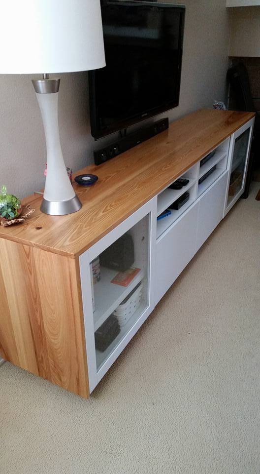 IKEA BESTÅ TV unit wrapped in cypress wood