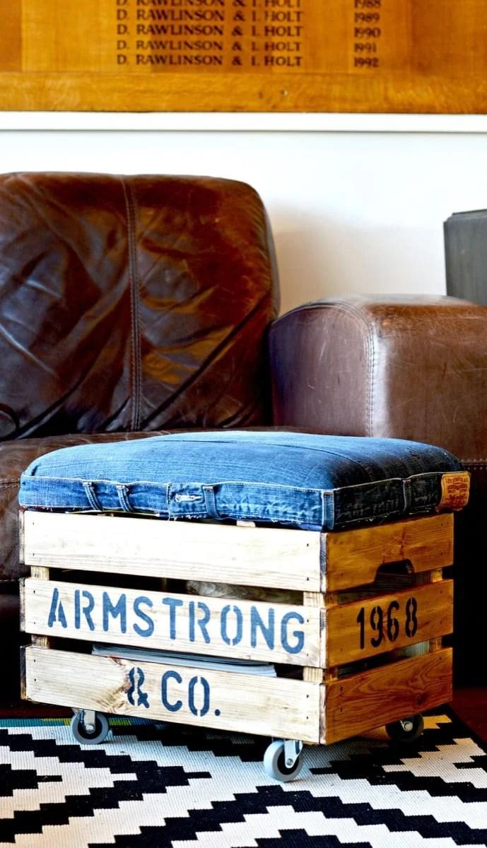 rustic denim ottoman with storage
