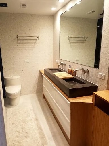 Bamboo Plywood Wrapped Godmorgon For Modern Bathroom