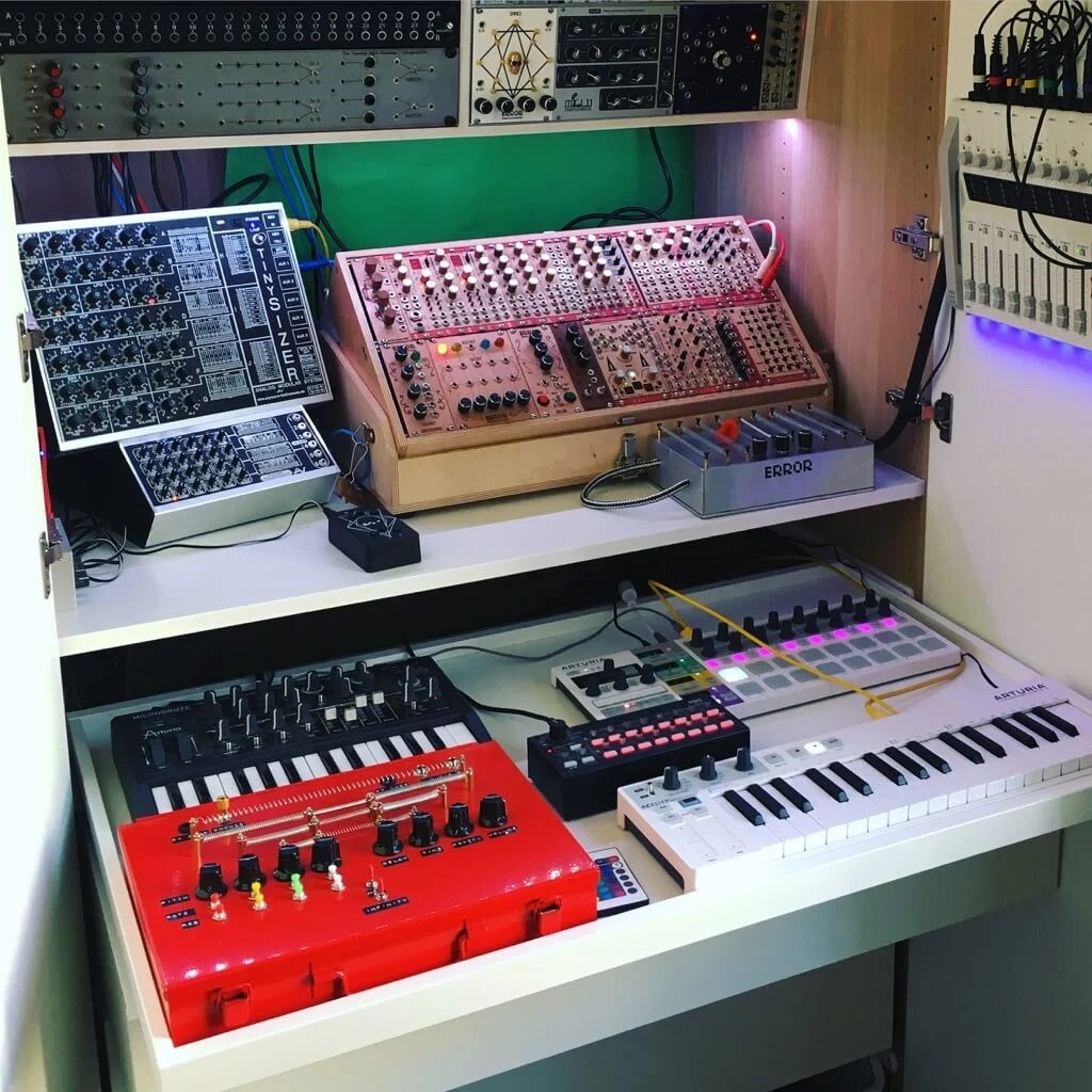 PAX synth workstation shelf slide out tray