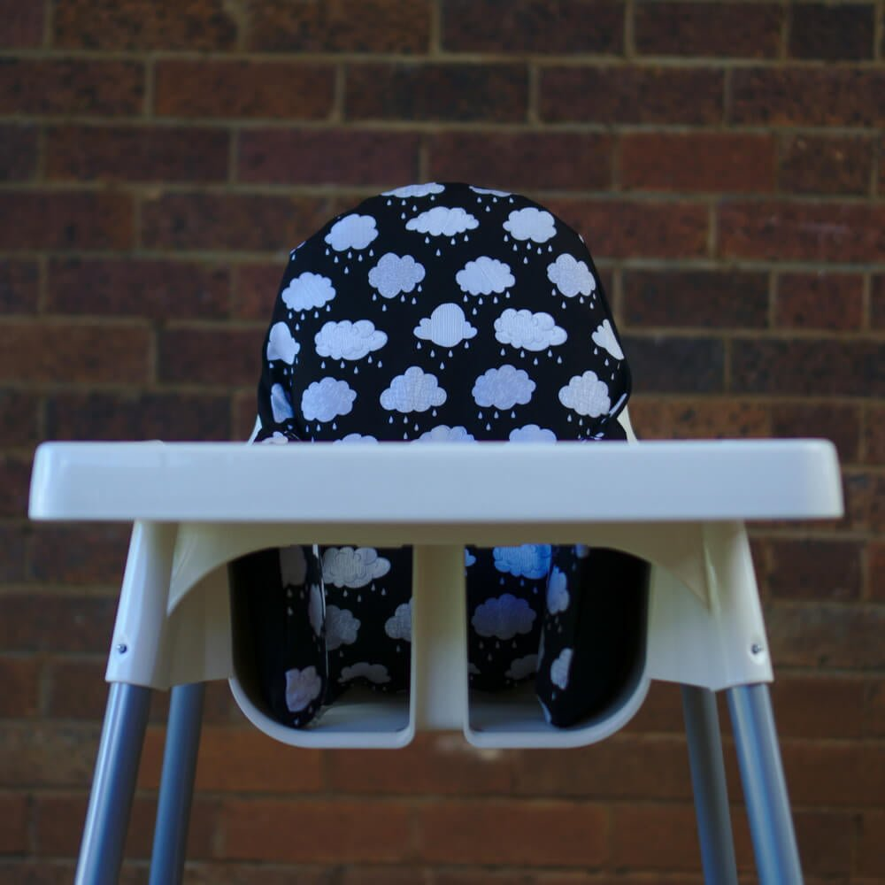 IKEA High Chair cushion design - monochrome-rain-clouds