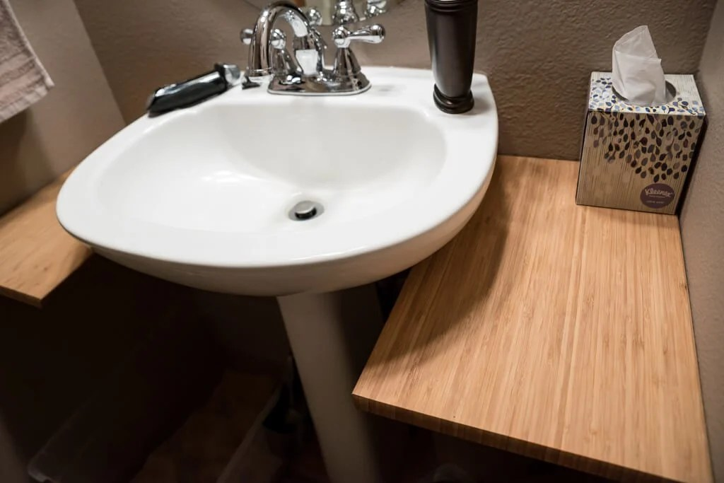 small bathroom extra countertop space