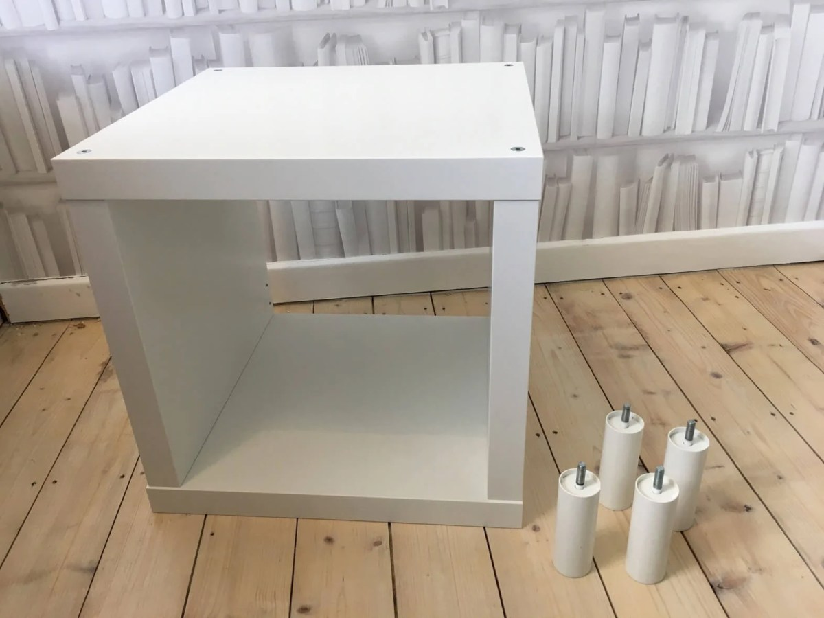 Small side table with storage from KALLAX cube