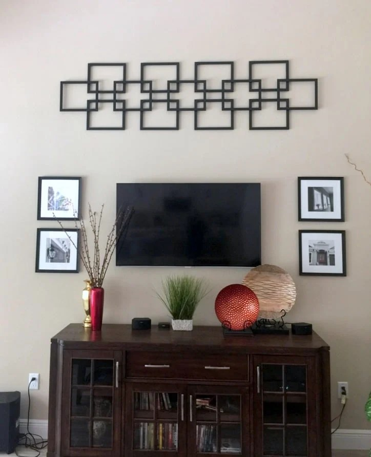 Faux fretwork panel as large scale wall decor
