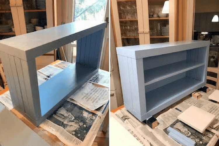 Narrow Hallway bench made from two TV units