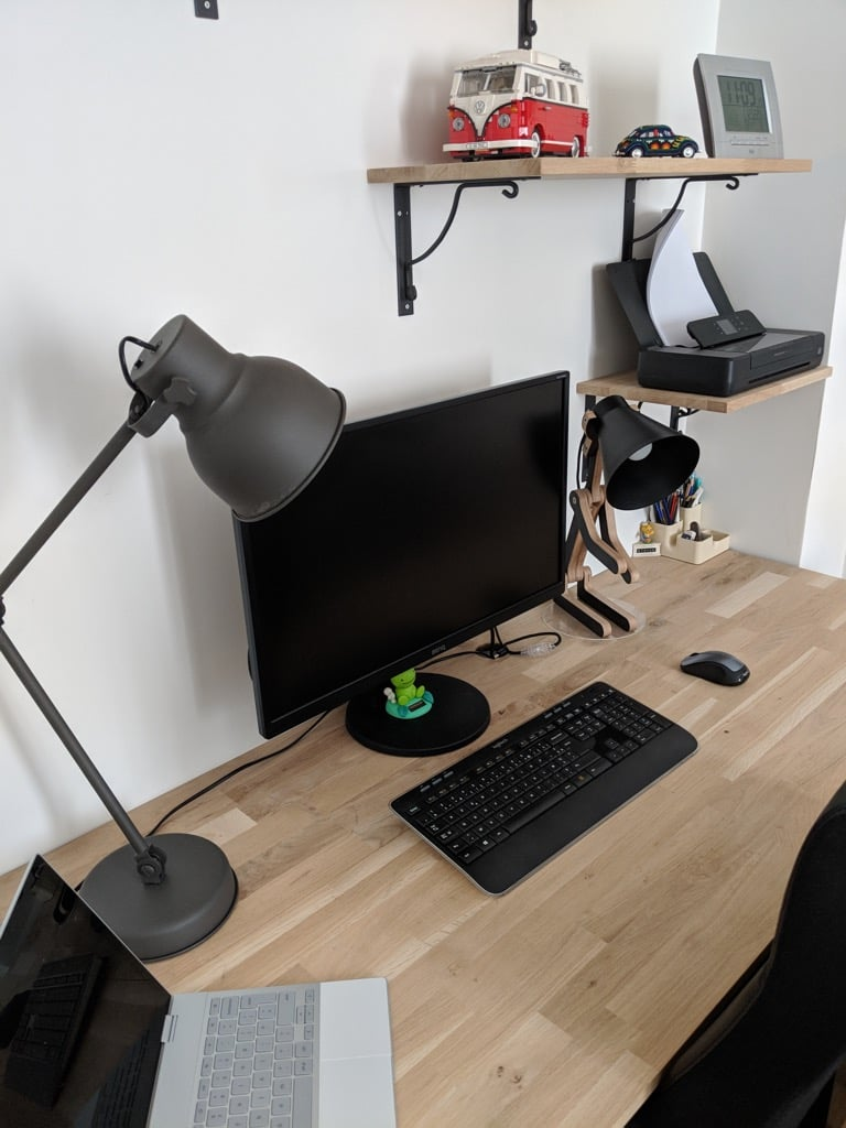 Industrial-style desk from kitchen cabinets