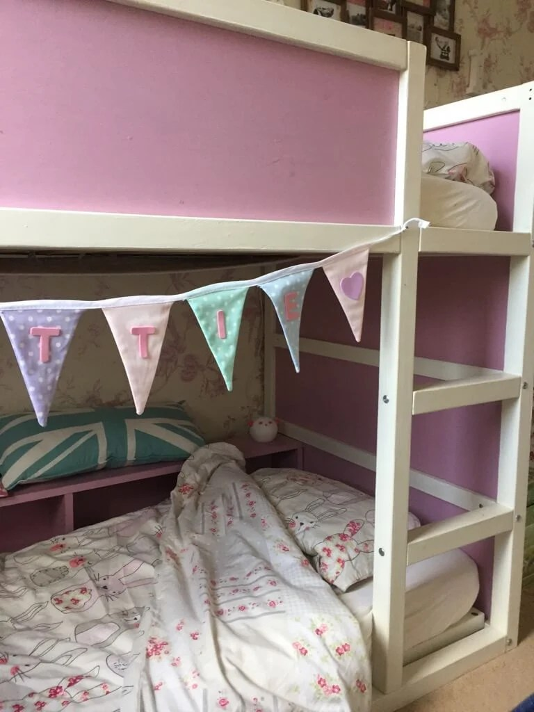 Toddler bunk bed made from KURA loft bed