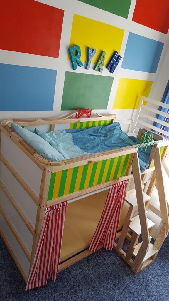 Toddler sized bunk bed with slide and den