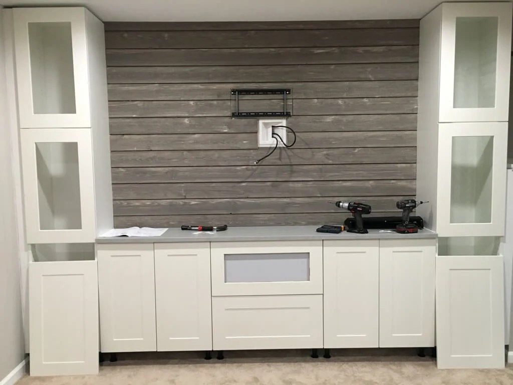 Shiplap Entertainment Center from IKEA kitchen cabinets