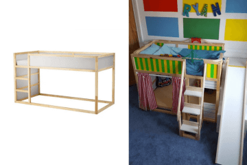 toddler bunk bed with den and slide