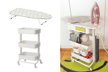 ironing board on wheels ikea hack