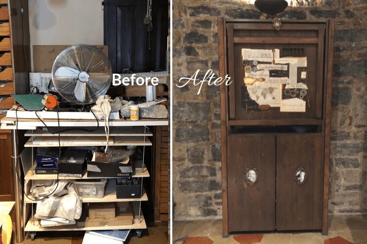 art studio desk storage ivar hack