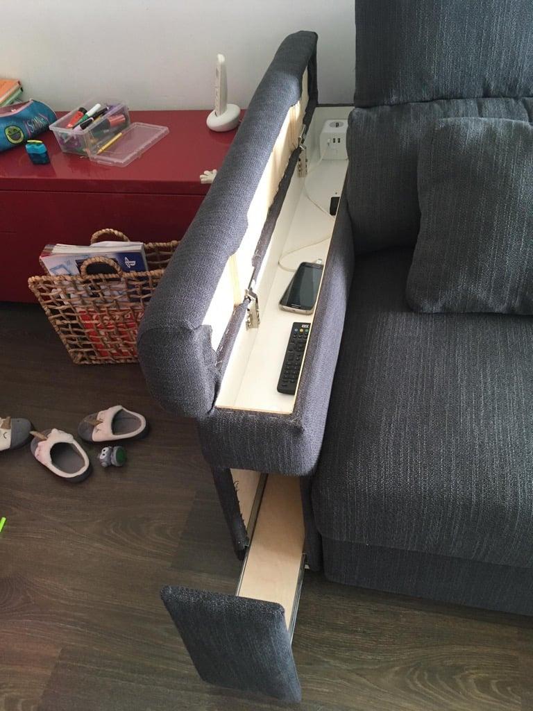 ikea sofa with genius armrest storage