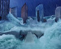 複合災害で洪水に遭う都市
