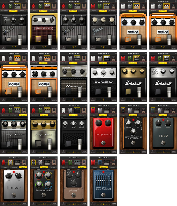 Stompbox effects and Amps available as in-app piurchase