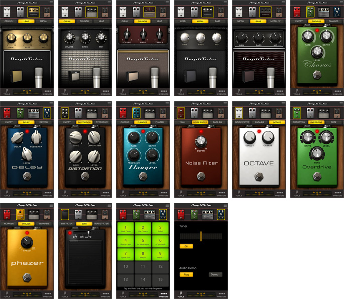Stompbox effects and Amps included