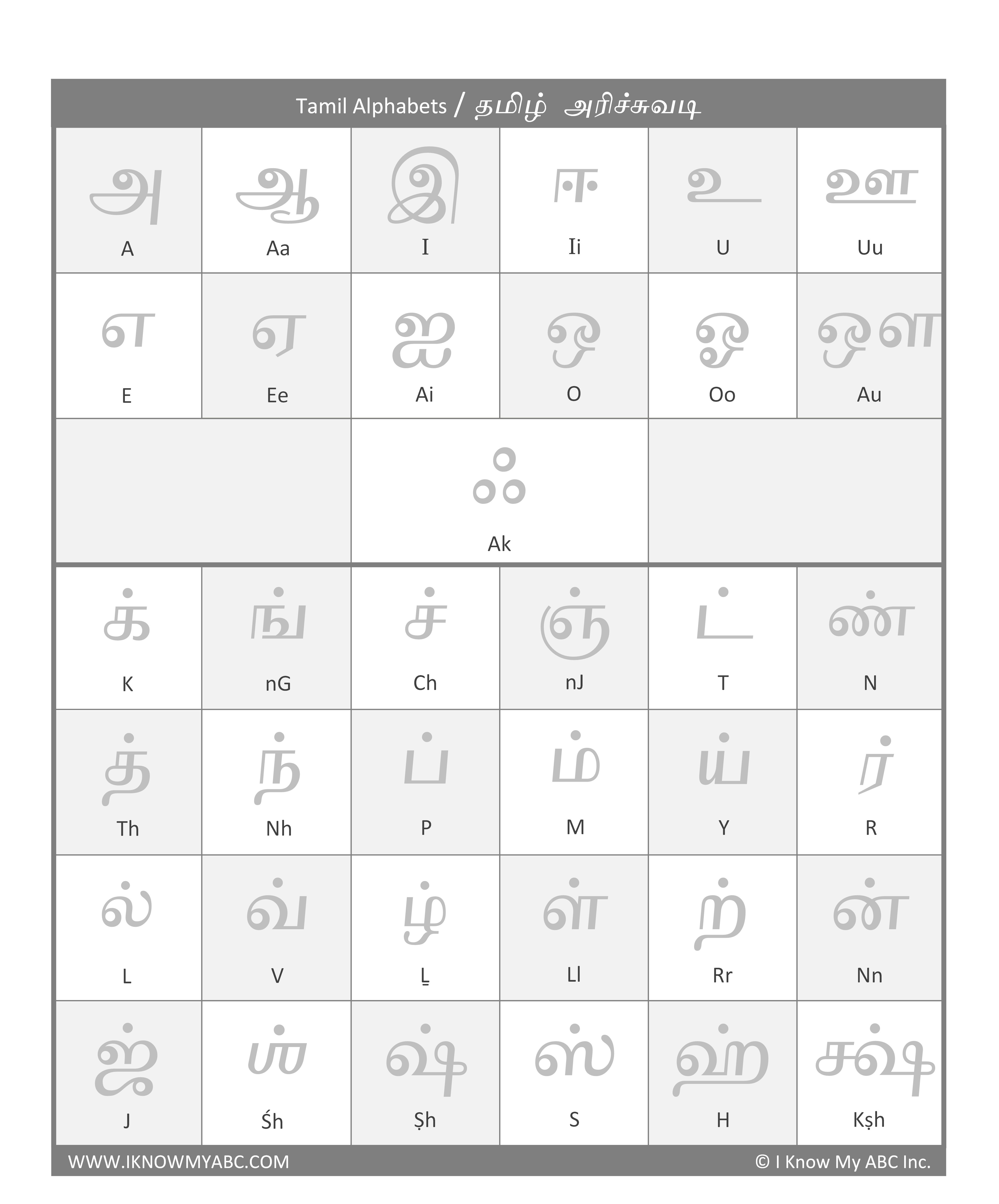 Learn Tamil Alphabets Free Educational Resources I