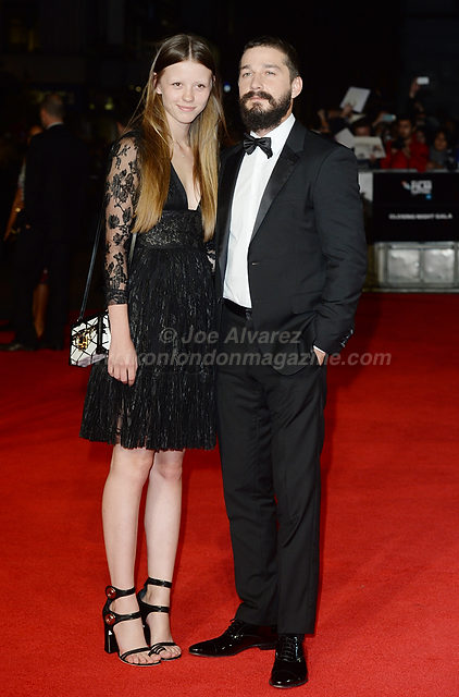 "Mia Goth Shia La Beouf and girlfriend attend the premiere of ""Fury"" at the 58th London Film Festival at Odeon, Leicester Square."