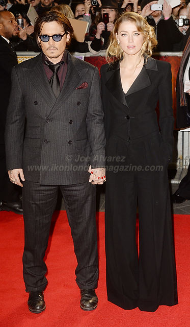 "Johnny Depp and Amber Heard attend the premiere of ""Mortdecai"" at Empire, Leicester Square © Joe Alvarez"