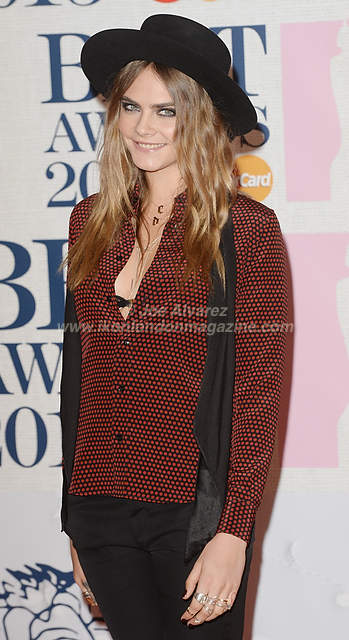Cara Delevingne attends the Brit Awards Awards at the O2 Arena.