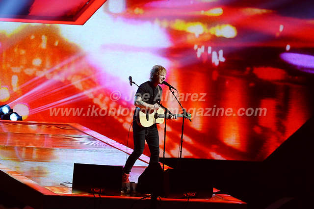 Ed Sheeran perform at the Brit Awards Awards at the O2 Arena.