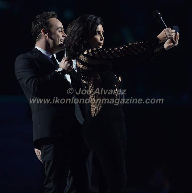 Kim Kardashian with Ant & Dec at the Brit Awards Awards at the O2 Arena.