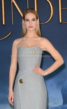 Lily James arrives at Cinderella London Premiere © Joe Alvarez