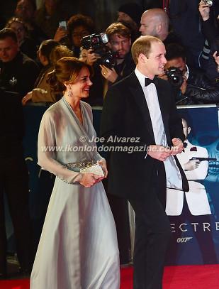 DUKE & DUCHESS OF CAMBRIDGE Kate Middleton and Prince William at the World Premiere of Hames Bond Spectre at Royal Albert Hall © Joe Alvarez