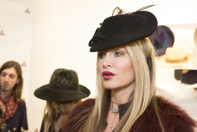 Caprice Bourret Jane Taylor Millinery store launch in Chelsea
