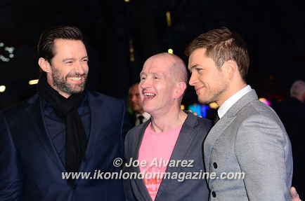 Hugh Jackman, Eddie Edwards, Taron Egerton Eddie The Eagel European Premiere © Joe Alvarez