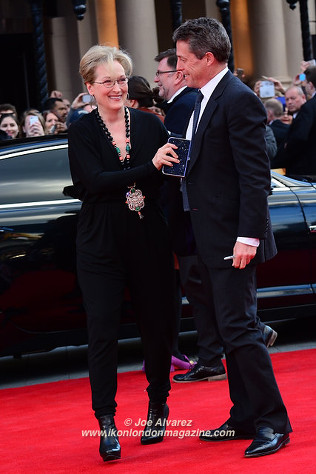 Merryl Streep Hugh Grant at the Florence Foster Jenkins premiere © Joe Alvarez