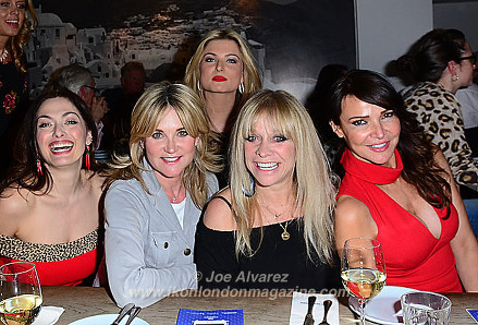 Tonia Buxton, Anthea Turner, Zara Holland, Jo Wood, Lizzie Cundy Gods of Greek Dining at The Real Greek © Joe Alvarez