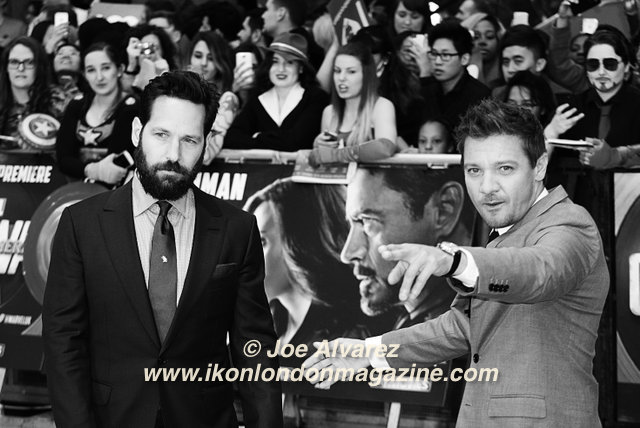 Paul Rudd and Jeremy Renner The Captain America: Civil War London premiere © Joe Alvarez