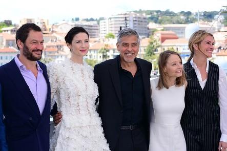 The Money Monster cast: Caitriona Balfe, George Clooney, Jodie Foster (Director), Julia Roberts Film Presscall Cannes Film Festival © Joe Alvarez