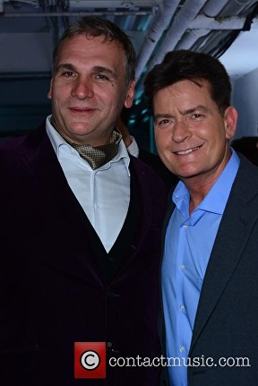 Lelo Hex founder Filip Sedic and Charlie Sheen at the Lelo Hex launch party © Joe Alvarez