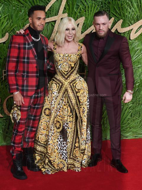 Lewis Hamilton, Donatella Versace and Conor McGregor attend the Fashion Theatre Awards at Royal Albert Hall, London.