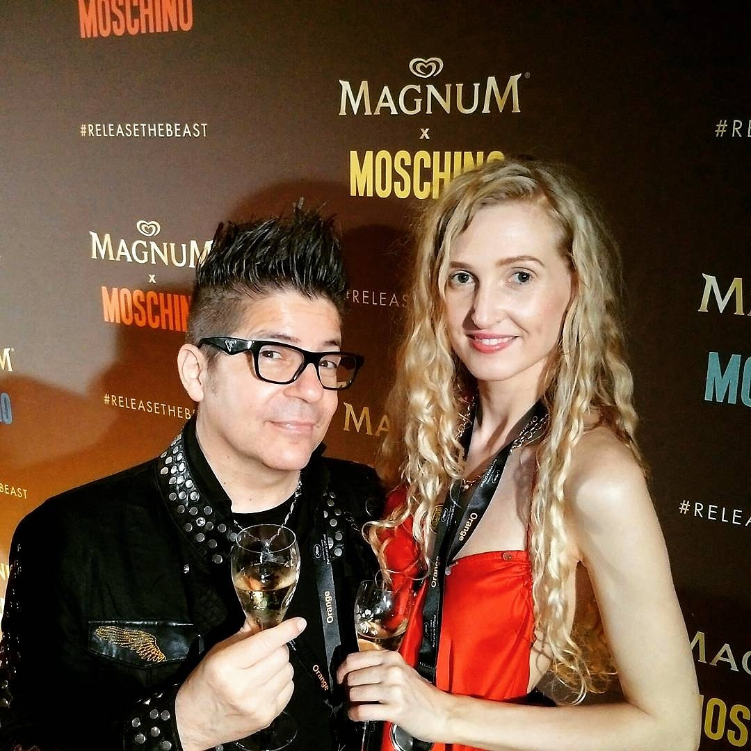Joe Alvarez, Tamara Orlova-Alvarez (wearing Cynthia Conran) at the Magnum Party in Cannes © Ikon London Magazine