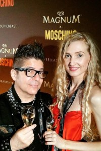 Joe Alvarez, Tamara Orlova-Alvarez (wearing Cynthia Conran) at the Magnum Party in Cannes © Ikon London Magazine