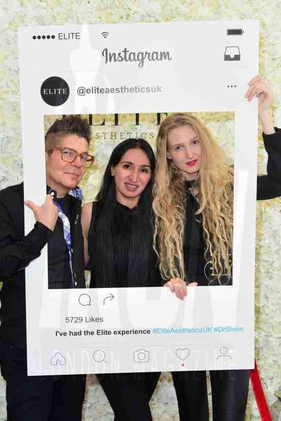 Joe Alvarez, Dr Shirin Lakhani, Tamara Orlova-Alvarez at the Elite Aesthetics party © JOE ALVAREZ